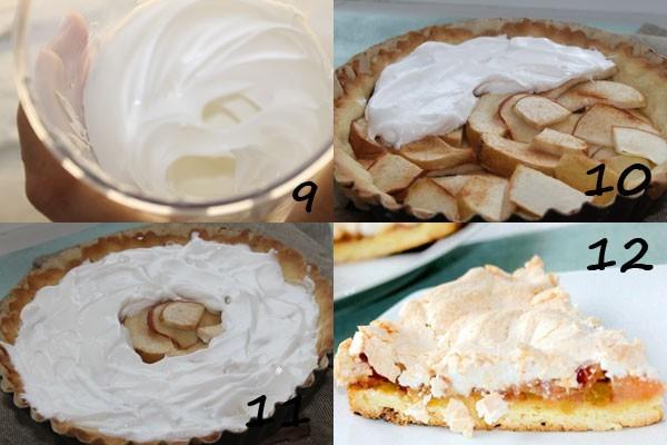 Начинка яблочного пирога покрывается взбитым безе