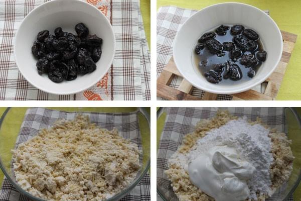 Приготовление творожного пирога с черносливом