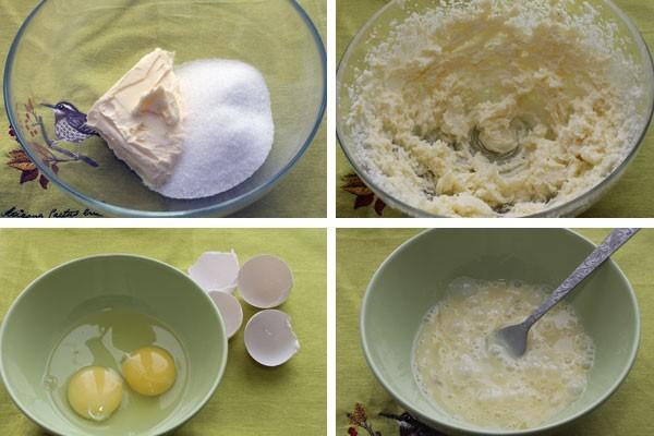 Для теста используем яйца, размягченное масло и сахар