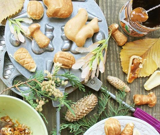 орешки в орешнице на плите - отличное хрустящее печенье