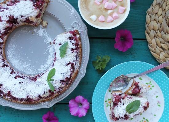 брусничный пирог с замороженными ягодами