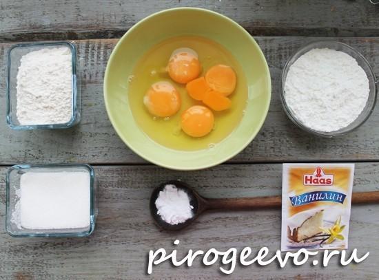 Ингредиенты для бисквитного торта