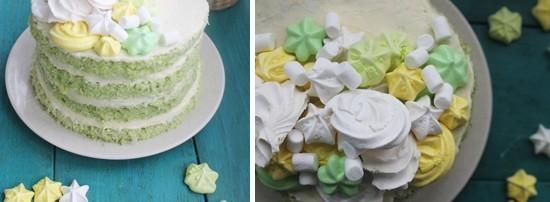 Шпинатный торт с нежным декором