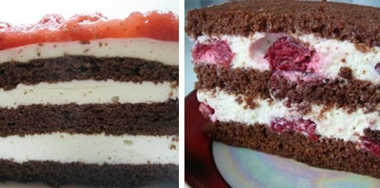 Разрезы шоколадных тортов