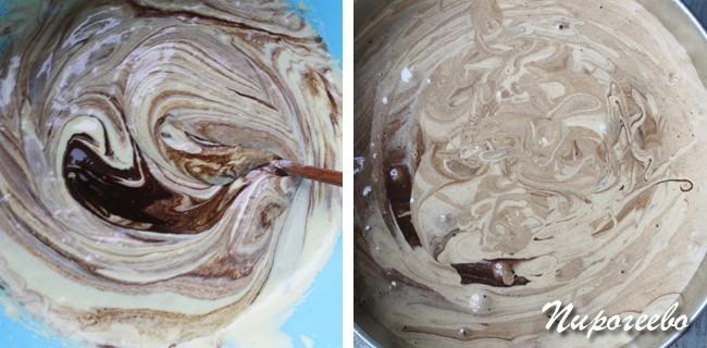 Выливаем шоколадное тесто в форму