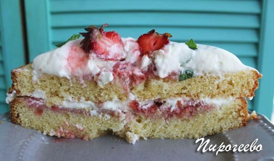 Красивый разрез торта королевы Виктории