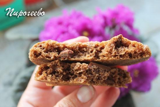 Печенье с кусочками шоколада в разломе