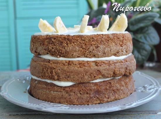 "Голый торт ""Колибри"" с ананасами и бананами"