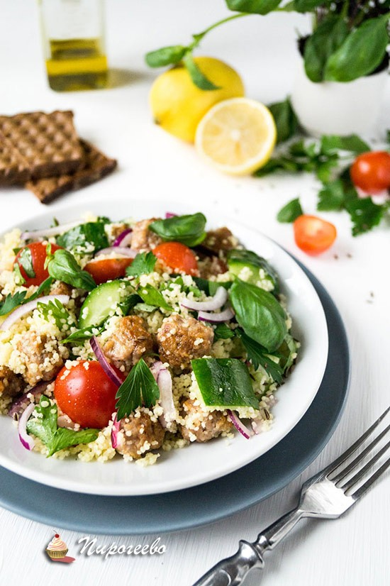 Сытный салат с кускусом пошаговый рецепт