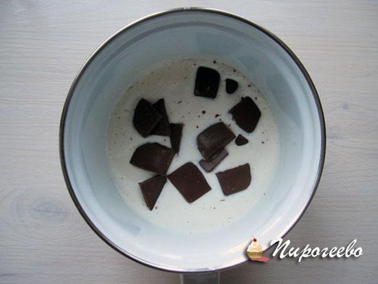 Опускаем дольки шоколада в горячие сливки и помешиваем