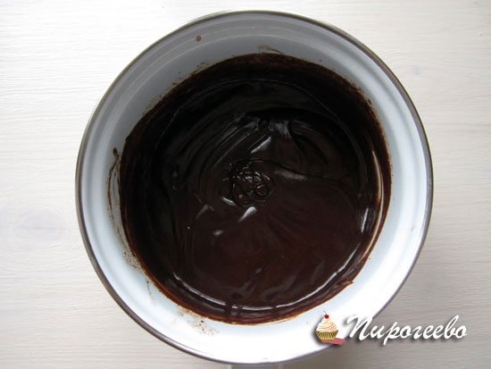 Размешиваем шоколад до однородного состояния
