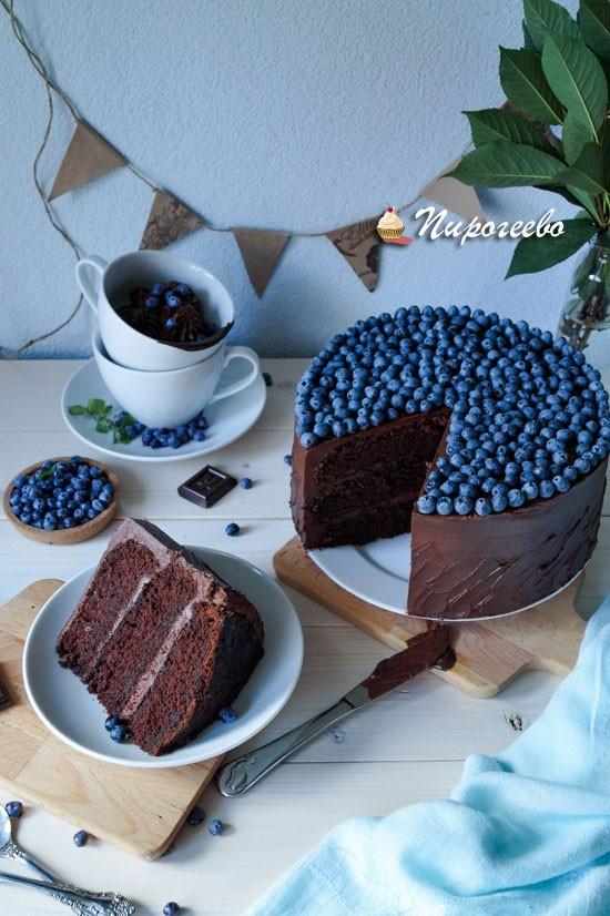 Торт, украшенный голубикой