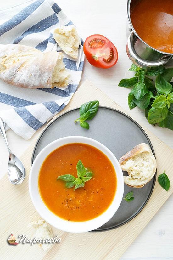 Вкусный суп с запеченными томатами рецепт с фото