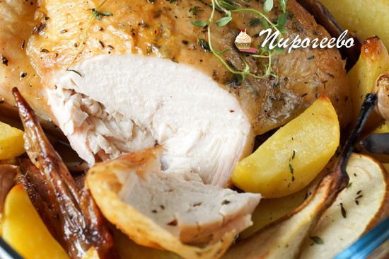 Пошаговый рецепт курицы с грушами и тимьяном