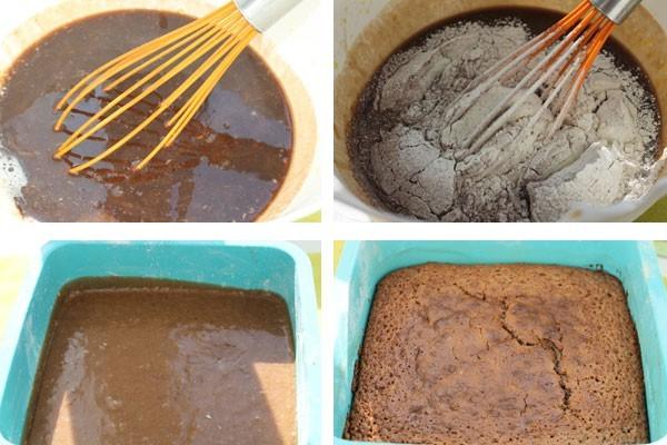 Добавьте муку и замесите жидкое тесто для брауниз
