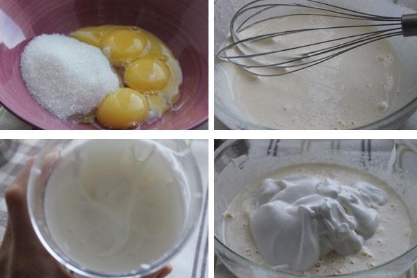 Чтобы бисквит получился пышным, белки и желтки взбивают по отдельности