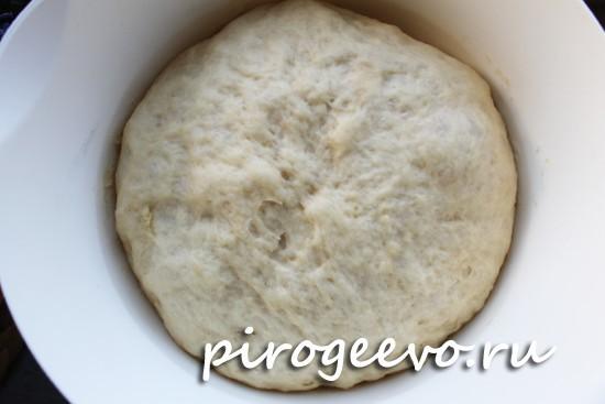 Подошедшее дрожжевое тесто для плюшек