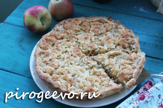 Вкусный яблочный пирог на песочном тесте