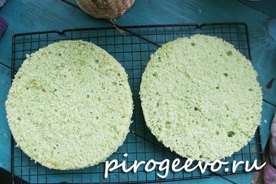 Цветной бисквит зеленого цвета в разрезе