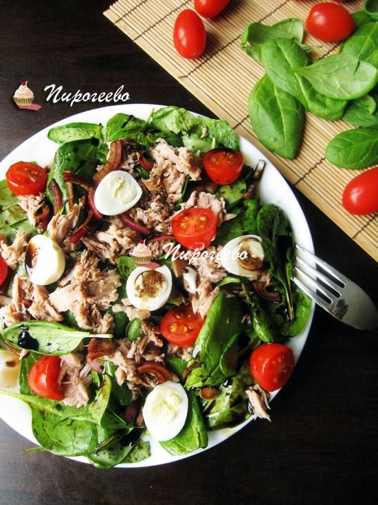 Салат с консервированным тунцом пошаговый рецепт с фото