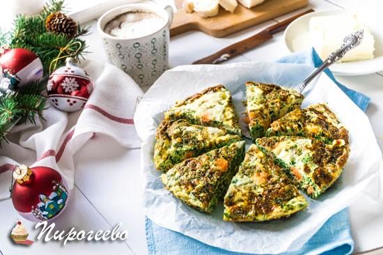 Фритатта с лососем и сыром пошаговый рецепт