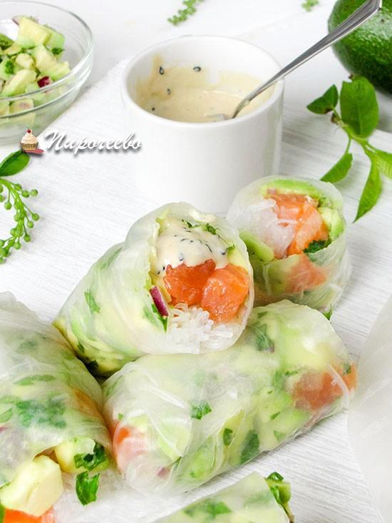 Спринг-роллы с лососем рецепт с фото