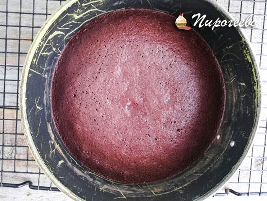 Готовый шоколадный бисквит после выпечки