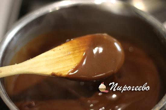 Консистенция шоколадной смеси в сотейнике